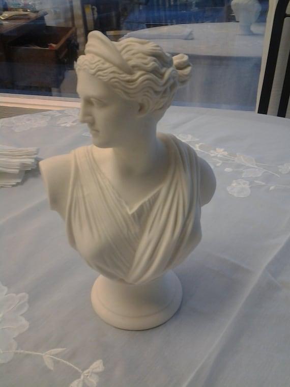Antique White Porcelain Bust Diana Greco Roman Woman Bisque