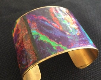 Vibrant Decoupage Cuff Bracelet Red Purple Green