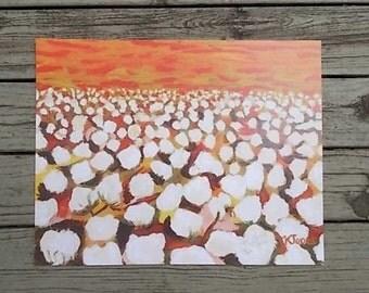 Gilliam Cotton | cotton field country farm | print by Louisiana artist Kristi Jones | 8 x 10 | cotton bolls orange sky