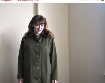 50s Olive Green Coat - Wool Coat - Mink Fur 1950s Wool Swing Coat