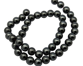 Hematite Beads Rounds Premium Non-Magnetic Shamballa 4mm 1 strand - 92 beads