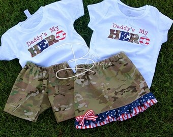 Girls stars and stripes Daddy's My Hero shirt and skirt welcome home set