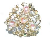 Juliana Rhinestone Brooch Verified D&E Formal Vintage Costume Jewelry with Iridescent Art Glass and Aurora Borealis Stones on Gold Tone