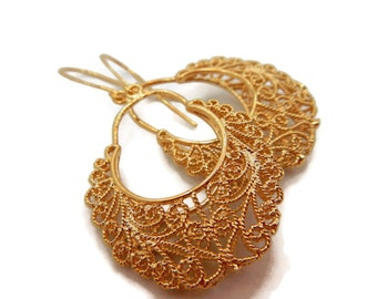 Elegant Gold Earrings, Holiday Jewelry