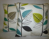 """PAIR Teal Blue Gray Yellow Pillow Cushion Covers 4 CHOICES Mix Match Designer Throws Slips 16"""" (40cm)"""
