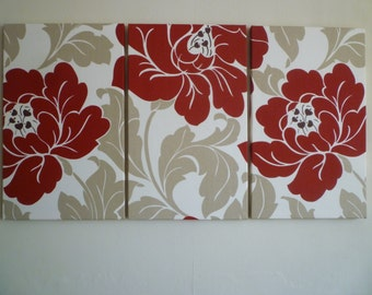 Red Big Fabric Wall Art Red Cream Taupe Funky Retro Floral Designer cotton canvas-weight Tryptich Picture Hanging Home Decor