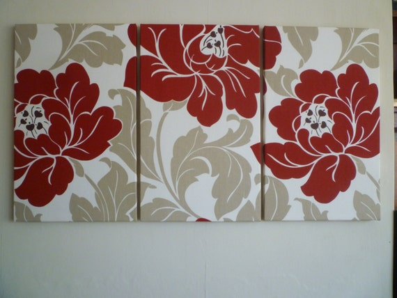 Red fabric wall art red cream taupe funky retro big floral for Funky wall art