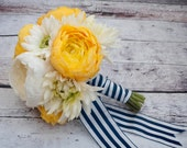 Wedding Bouquet - Yellow and White Ranunculus Daisy and Mum Bouquet