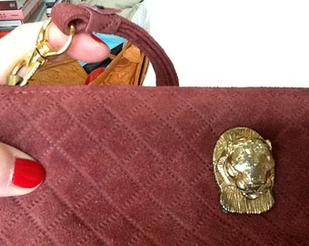 Vintage RUTH E SALTZ Purse Quilted Maroon Red Suede with Gold Cougar Clasp