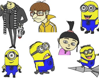 7 despicable me machine embroidery designs instant download