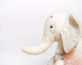 White Felt Elephant - Berthina. Felt toy. Marionette. Puppet. Plush toy, Felted Stuffed Toy. Waldorf toy. Baby shower.  pink. MADE TO ORDER