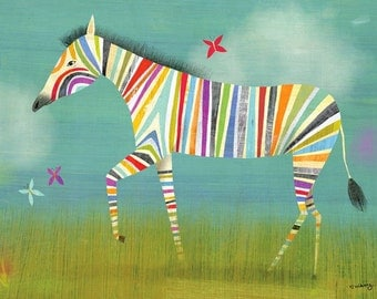 Rainbow Zebra // Canvas Art Print // Perfect for nursery or child's room