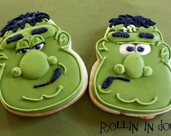 Halloween Cookies, Frankenstein Cookies - 1 DOZEN