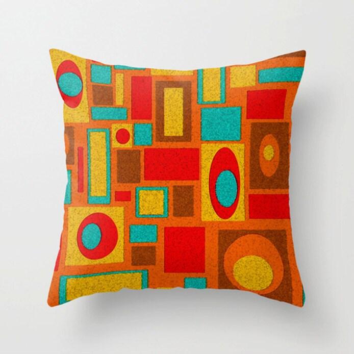 Orange Pillow Mid Century Modern Pillow Geometric Pillow