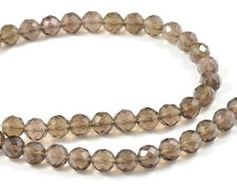 "Faceted Smoky quartz Tear Crystal Quartz Gemstone Beads 8mm One Full Strand 16"""