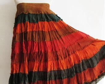 S3, Wavy Hippie Colorful Orange Cotton Skirt 3