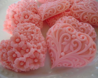 30 heart soap favors - wedding favors - birthday favors - bridal shower favors - baby shower favors - quinceanera favors - pink heart favors