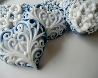 30 Heart Soap - navy blue and white hearts - baby shower favor, wedding favor