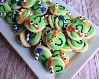 Mini turtle sugar cookies