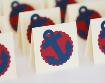 Nautical Mini Cards, Navy Blue and Red Cards with Anchor, Small Blank Cards, Nautical Card, Nautical Wedding Decor