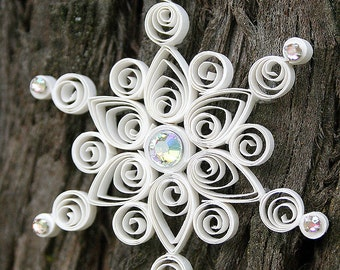 Quilled and Jeweled Crystals Snowflake Ornament
