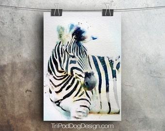 Zebra Watercolor - Digital Download Printable