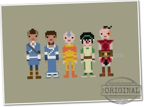 Avatar the Last Airbender - The *Original* Pixel People - PDF Cross Stitch Pattern - INSTANT DOWNLOAD