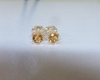 Citrine Post Earrings - 4mm Yellow Citrine Sterling Silver Post Earrings