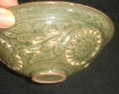 Antique Chinese Northern Song Dynasty Yaozhou Double Layer Cutout Molded Dragon Green Glaze Bowl