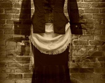 white wedding bustle drape/skirt