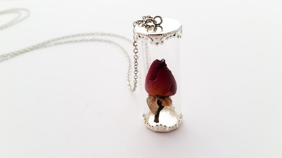 Rose under glass necklace rosebud in a vial by for Rose under glass