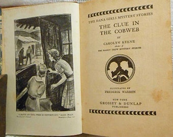 1939 CLUE in the COBWEB Dana Girls Mystery Book Carolyn Keene, Jewelry Thieves, Classic Girl Detectives Adventure, Illustrated Tween Gift HC