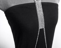 Sensual Silver Plated Hot Double Loop Chain Neck Body Chain Handmade by VZuniga Designs