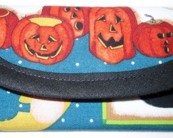 1 Business card or gift card Wallet, Halloween Jack-o-Lantern Fabric 5x 2 1/2 in clutch, envelope,