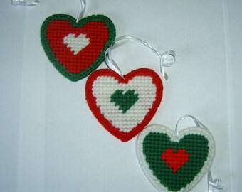 Handmade Plastic Canvas Needlepoint Heart Ornaments - set of three