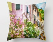 Pillow Cover, Cinque Terre, Houses, Italy, Pastel, Spring Botanicals, Street, Decorative Throw Pillow Cover, fPOE, 16x16, 18x18, 20x20