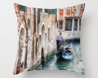 Pillow Cover, Gondolier, Decorative Throw Pillow Cover, Venice, Italy, fPOE, 16x16, 18x18, 20x20