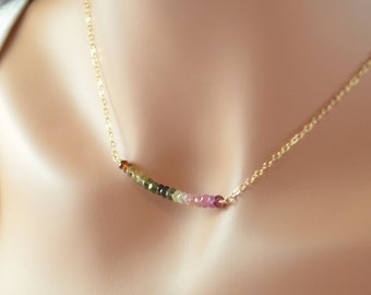 Tourmaline Gemstone Row Necklace, Browns Greens and Pinks, October Birthstone, Sterling Silver or Gold Jewelry, Free Shipping