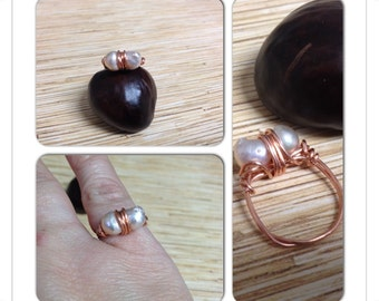 Light Pink Freshwater Pearl Ring Size 6 1/4