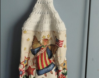 4th of July Angel crocheted singel kitchen dish towel