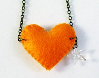 Girls felt necklace, Felt heart, orange felt, cristal star, felt necklace, charm necklace, gifts for girls, Handmade by Marumadrid