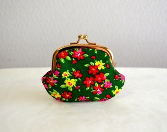 SALE! Retro green floral tiny coin purse - PInk flowers. Handmade in Japan. Ready to ship.