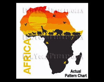 Africa Pattern, African Cross Stitch, Animals Silhouette Pattern, African Pattern, Silhouette, Africa by NewYorkNeedleworks on Etsy