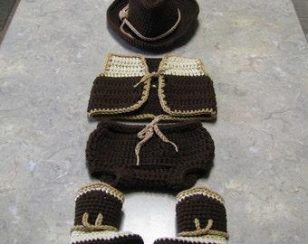 Cowboy hat / vest / pant / boot  set - crochet - newborn size - photo prop / costume