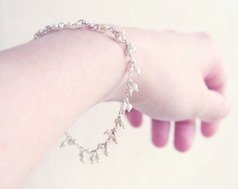 Sterling Silver Snow Flurry - pretty dainty pearl bracelet