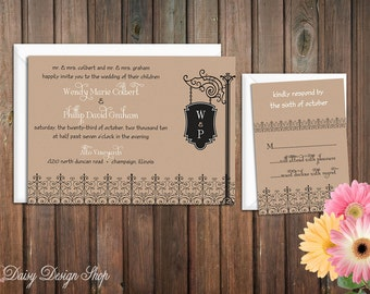 Wedding Invitation - Sign Post Silhouette and Fence - Invitation and RSVP Card with Envelopes