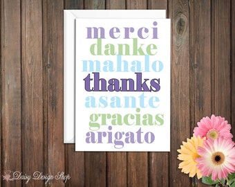 Thank You Cards Foreign Language Text - Thank You in Seven Languages - Set of 10 with Envelopes