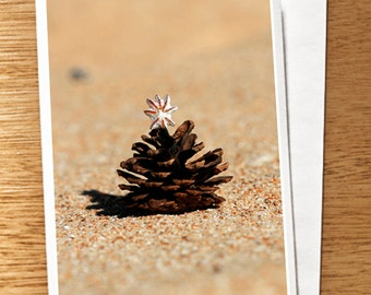 Pine Cone Christmas Tree on the Beach Christmas Photo Card, Christmas Photography Card, Beach Xmas Card, Pine Cone Xmas Card, Beach Xmas