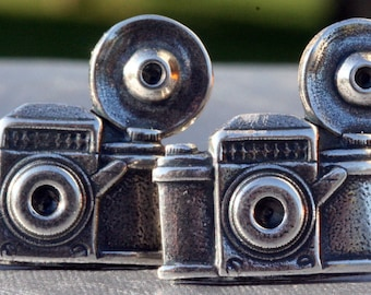 Camera Cufflinks Mens Cuff Link Mens Vintage Silver 35mm Camera Photography
