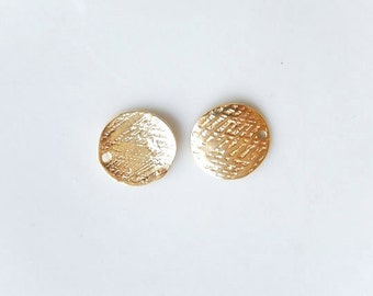 2 pcs Gold  vermeil,  textured, curvy  disk, charm ( 10mm) (gold plated over .925 sterling silver)